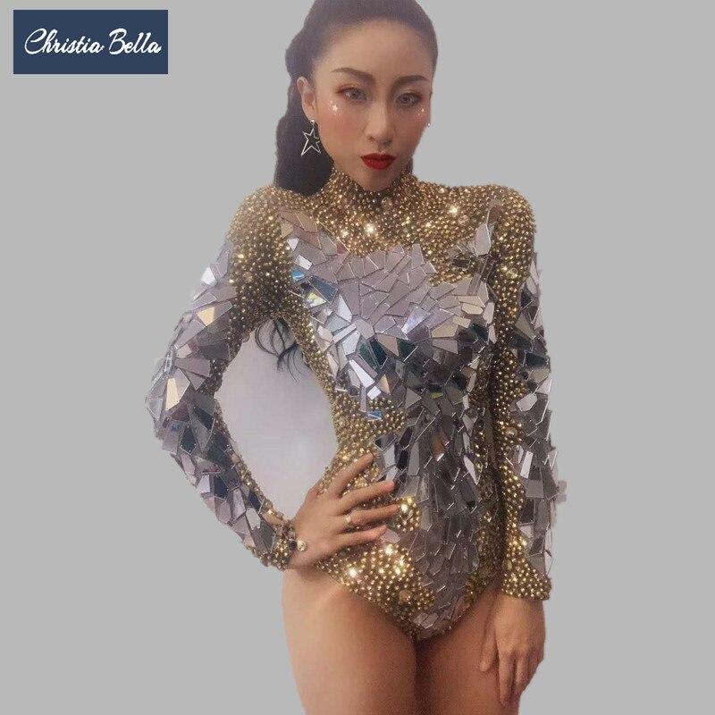 Femmes or strass body manches longues paillettes justaucorps pôle danse Catsuit Stretch combinaison discothèque Dj chanteur Costumes