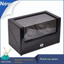 Alto Brillo Suface Daul Channel Enrollador de Reloj Automático, Adaptador/AAA Batería 5 Modos de Madera De Cerezo Enrollador de Reloj automático