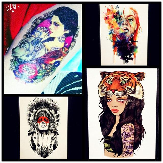 Colorful Sexy Girl Women Temporary Tattoo Waterproof Arm Tatoo Sleeve Sticker Body Art Drawning Leg Decals Fake Tattoo Stickers