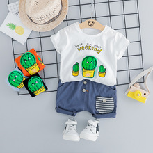 Baby Boy Summer Clothes Set Cartoon Cactus Pattern T-shirt & Shorts 2 Pieces Newborn Outfit Fashion Cotton Casual Boys Tracksuit