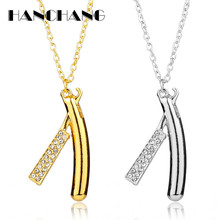 New Arrival Hair Dresser Necklace Rhinestones Razor Pendant Necklace Barber Shop Cosmetologist Tool Jewelry Hairdresser Gift