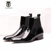 Handmade Vintage Patent Leather Luxury Elastic Slip On Wyatt Classic Harness Ankle Chelsea Boots British Style