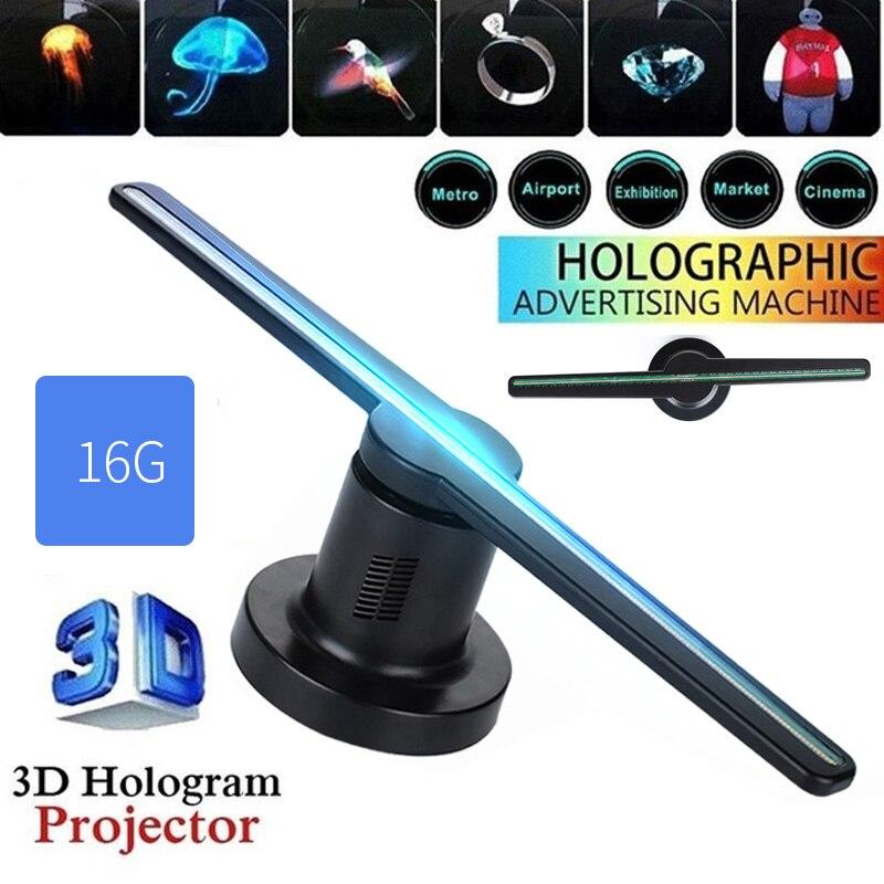 Hologramme 3D avec 16G TF 224 LEDs 3D hologramme projecteur ventilateur holographique fête décorations 42cm drôle hologrammes Kit
