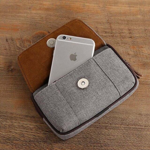 Cowboy Canvas Phone Pouch Belt Clip Bag for Samsung Case with Pen Holder Waist Bag Outdoor Sport 3