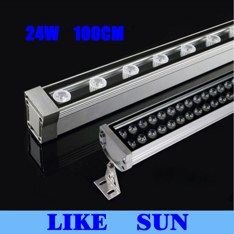 New 1M 24W LED Wall Washer Landscape light AC 85V 265V outdoor lights wall linear lamp floodlight 30cm wallwasher