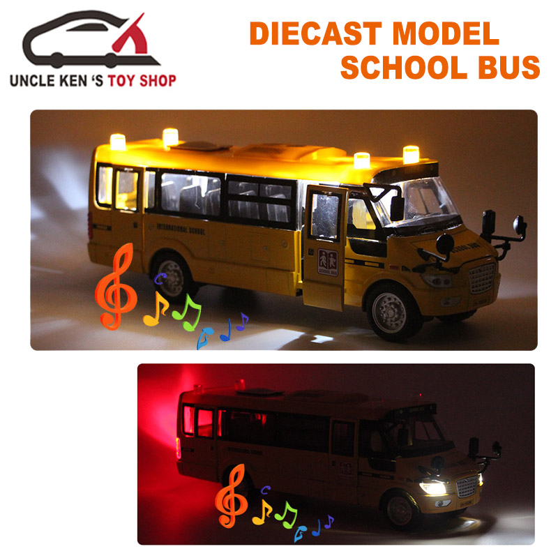 Diecast-School-Bus-Model-22Cm-Metal-Toy-Brand-Alloy-Car-For-Boys-With-Gift-BoxOpenable-DoorsMusicLightPull-Back-Function-1