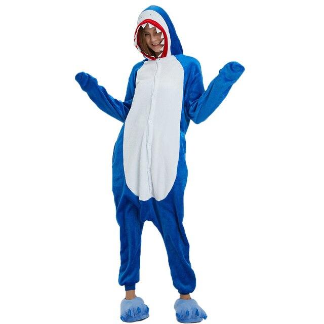f2796fa574 Adult New Flannel Animal Shark Pajamas Set Winter Warm Women Men Sleepwear  Cute Shark Cosplay Christmas Pyjamas Costume Onesies