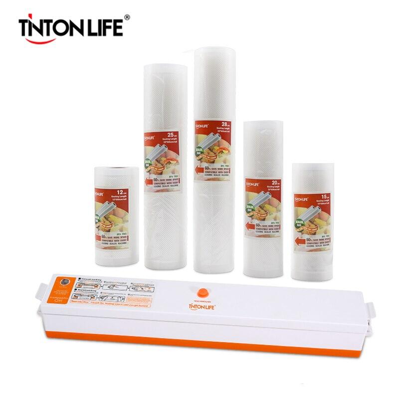 TINTON LIFE vacío alimentos sellador con 5 rollos bolsa sellador al vacío (12X500 cm, 15X500 cm, 20X500 cm, 25X500 cm, 28X500 cm)