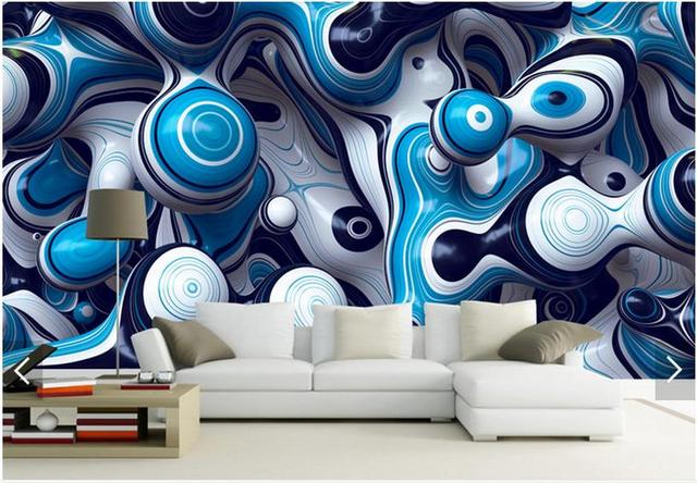 Us 26 2 Kundenspezifische 3d Fototapete 3d Wandbild Tapete 3 D Abstrakte Kunst Hintergrund Wand Blaue Welle Wandbilder 3d Wohnzimmer Tapete In