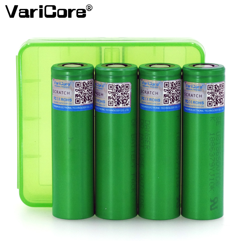 4PCS VariCore VTC6 3.7V 3000 mAh Li-ion Battery 18650 30A Discharge for Sony US18650VTC6 Toy Flashlight Tools ues + Storage box