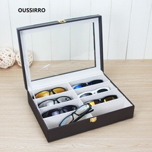 Fashion Eyeglass Sunglass Storage Box Imitation Leather Glasses Display Case Organizer Collector 8 Slot