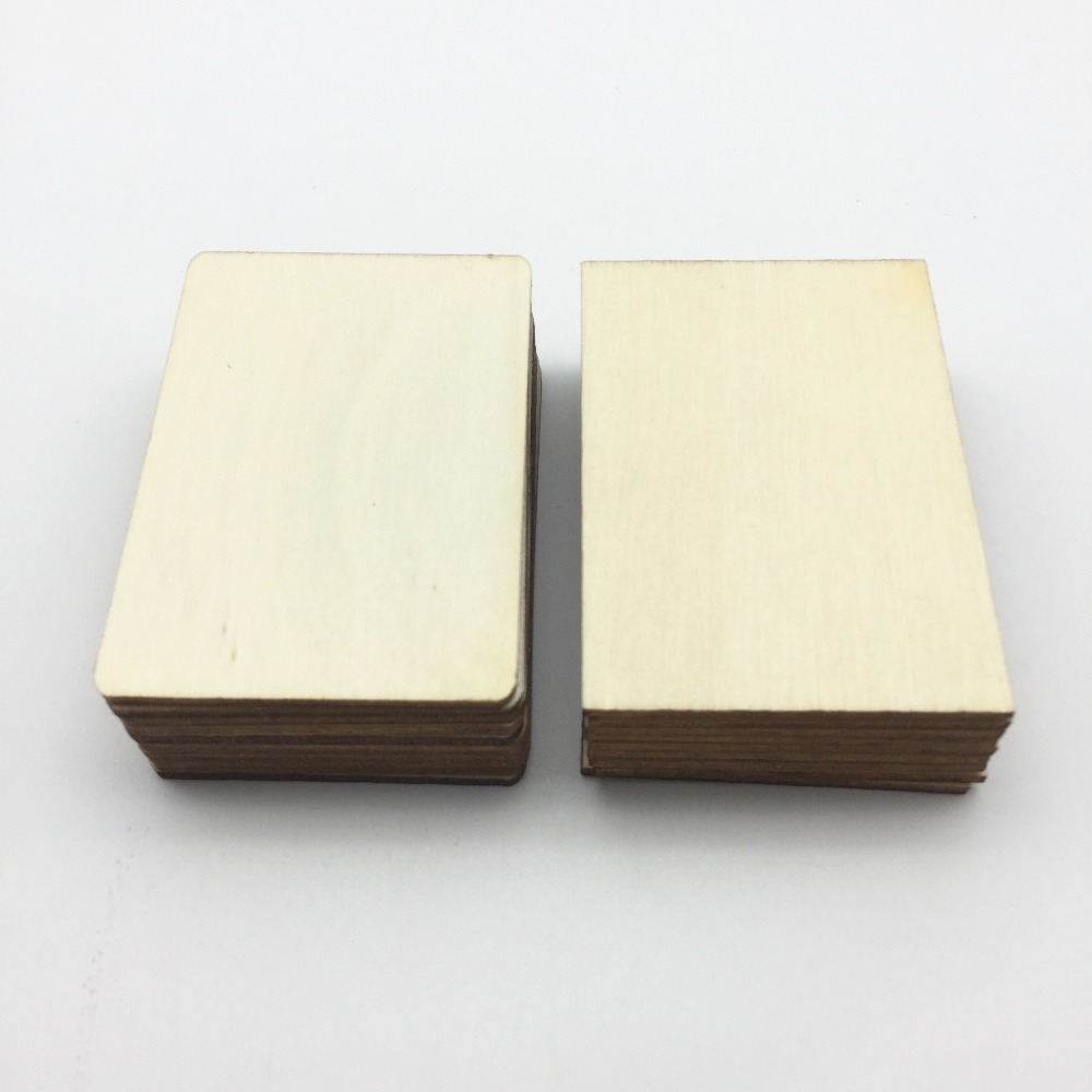 30pcs 70x49mm Blank Plywood Wood Business Card Wooden Name Card Unfinished Wood Plaque Rectangles Shapes Sign DIY Decor Crafts