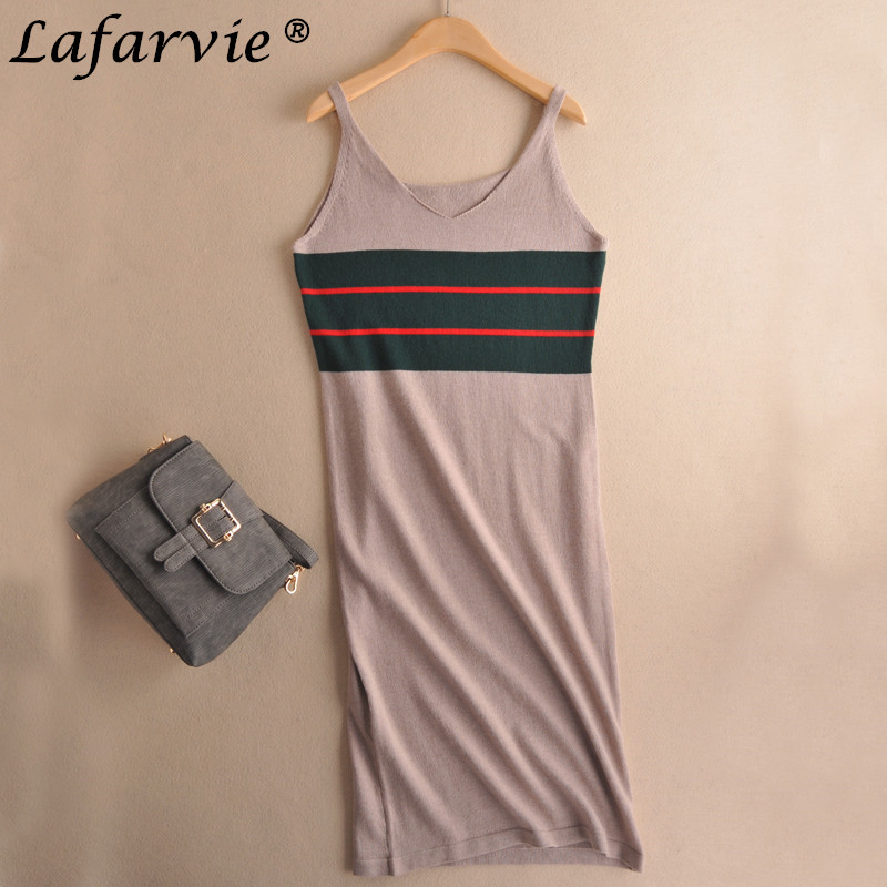 Buy Cheap Lafarvie 2017 Fashion Cashmere Blended Summer Dress V-Neck Spaghetti Strap Straight Sleeveless Casual Soft Female Knitted Dress