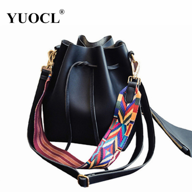 a15466bad1f6 YUOCL 2018 Fashion Colorful Strap Bucket Bag Women High Quality Pu Leather  Shoulder Bag Brand Desinger
