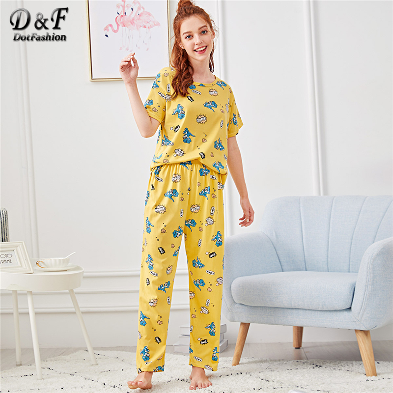 Dotfashion Hot Air Balloon Print Cartoon   Pajama     Set   Summer Multicolor Round Neck Short Sleeve Nightwear Women Casual PJ   Sets