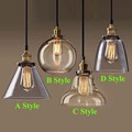Retro Vintage Pendant Lights Clear Glass Lampshade Loft Pendant Lamps E27 110V 220V for Dinning Room Home Decoration Lighting