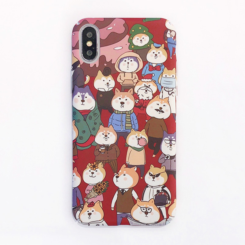 KIPX1098_3_JONSNOW All-inclusive Phone Case for iPhone XR XS Max 7 8 Plus 6 6S 6 Plus Funny Cute Dogs Chick Duck Pattern Hard PC Back Cover Capa Fundas