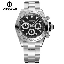 VINOCE Sports Noctilucent Multifunction Men Watches Luxury Stainless Steel Band Chronograph Watch 200 M Waterproof Reloj Hombre