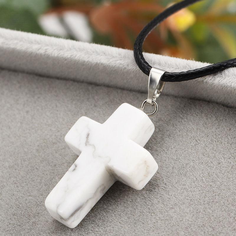 Cross Natural Stone Quartz Charms Pendant Necklace Women Men Jewelry Choker Gift