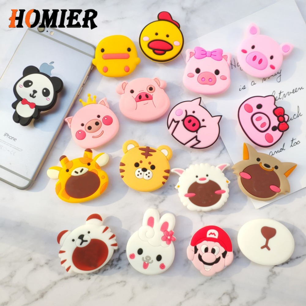Universal Phone Stand Bracket Expanding Stand Stretch Grip Phone Holder Finger Cute Cartoon Socket Stand For Iphone 6s 7 8 X XS