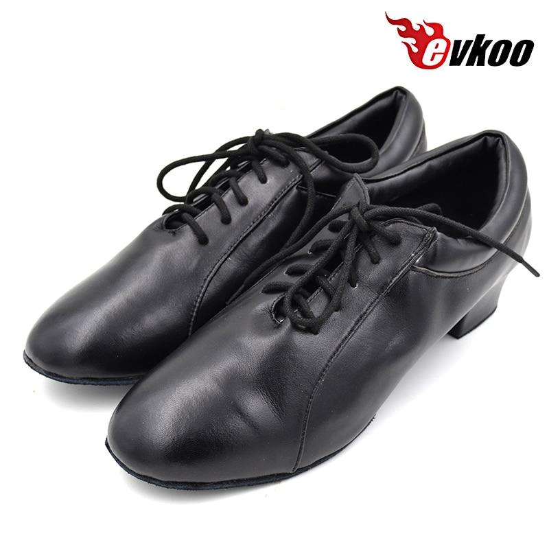 Evkoodance Latin Ballroom Dancing Shoes Size 4.5 13.5 Black Genuine Leather 4 cm Low Heel Dance Shoes For Men Evkoo 367