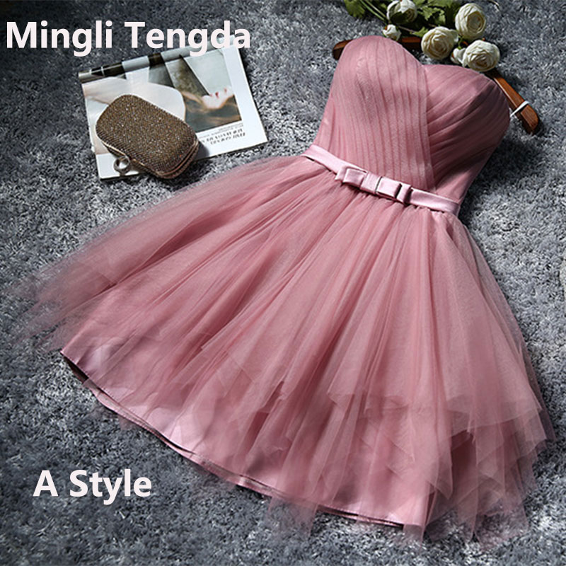 Mingli Tengda Bean Sand Bridesmaid Dresses 4 Styles Short Wedding Party Dress Elegant Lady Dress Tulle Pleated Bridesmaid Dress