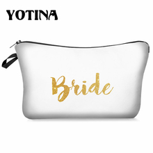 Yotina Makeup Bag Women Cosmetic With  Bride Bridemaid Printing neceser Toiletry Travel makeup Organizer