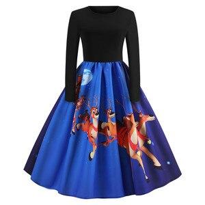 Image 3 - Sukienka vintage kobiety z długim rękawem druku sukienka świąteczna zima elegancki Swing Party sukienki szata Femme na co dzień Rockabilly Vestidos