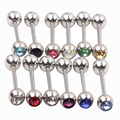 TONGUE Body Piercing Jewelry CZ Nose Belly Button Ring mix 10 colors 50/100/1000pcs Barbell Bar Nipple Tounge Piercing
