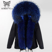 AORRYVLA 2017 Winter Women Real Fur Parka Short Colors Large Real Raccoon Fur Collar Hooded Coat