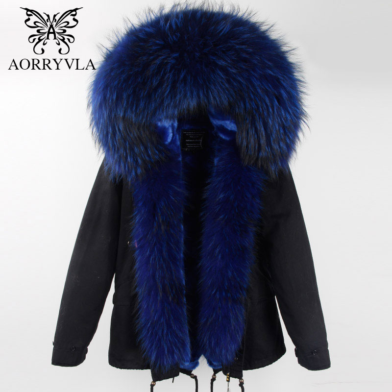 AORRYVLA 2018 New Winter Fashion Women Fur   Parka   Natural Big Raccoon Fur Collar Hooded Short Jacket Detachable Lining Warm Coat