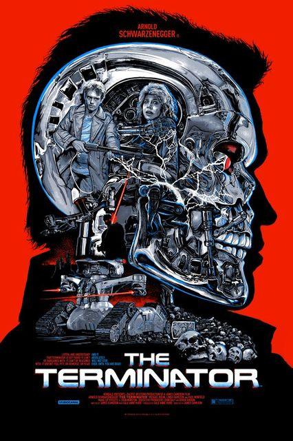 sci fi terminator head structure retro vintage horror movie posters