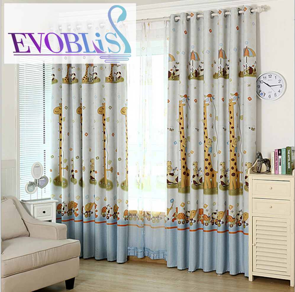 Cartoon Trees Curtains For Kids Boys Bedroom Blinds Linen: Cute Cartoon Animals Giraffe Blackout Curtains For Bedroom