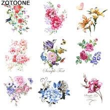 ZOTOONE Cartoon Beautiful Flower Garment DIY Ironing Sticker A Grade Powder Washable Womens T-shirt Heat Transfer Patch patches