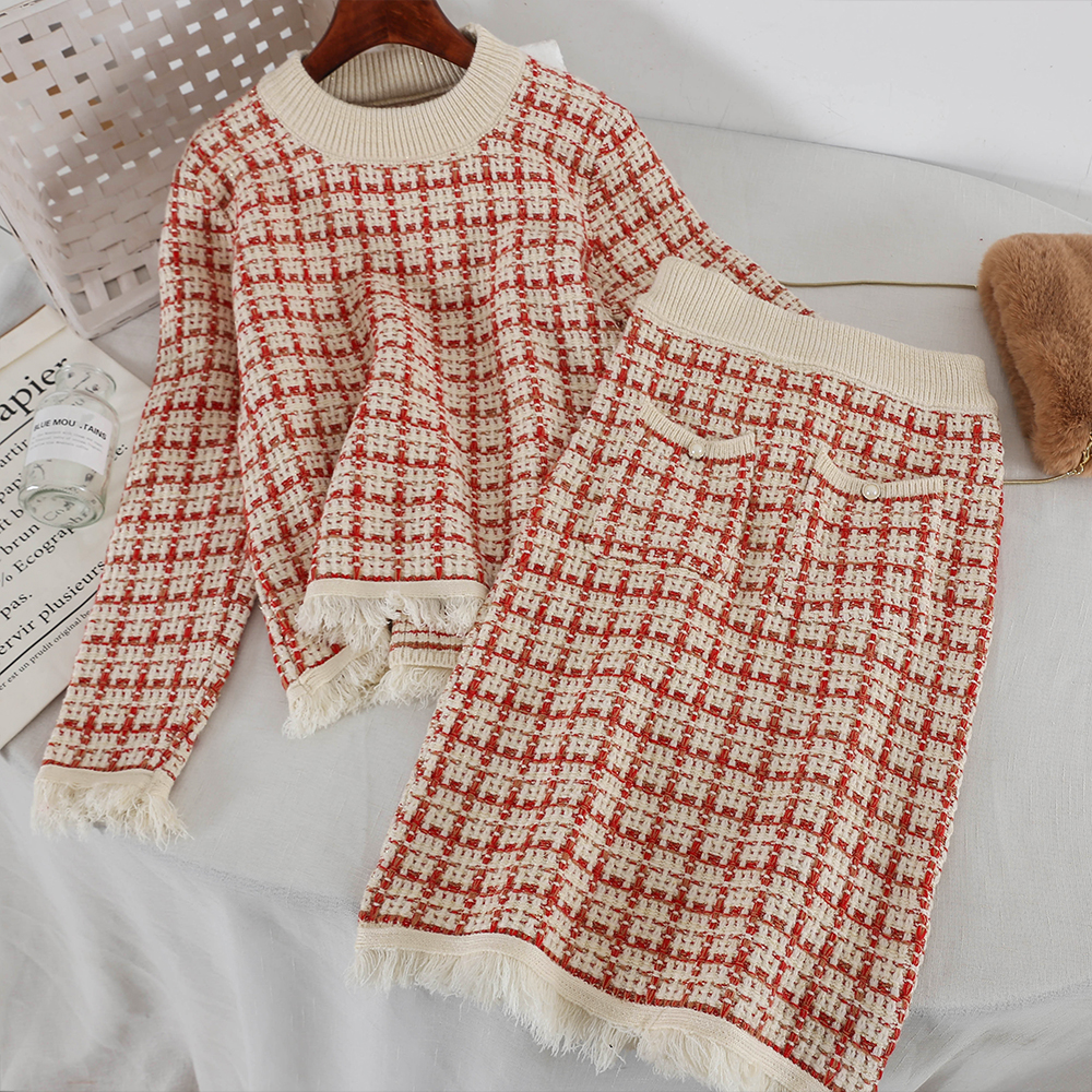 2019 new fashion women's two piece set ladies plaid knit sweater+ half skirt set 3162