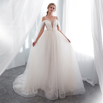 Simple Cheap Princess A-line Wedding Dresses Jewel Neck Off The Shoulder Robe De Mariee White Ivory In Stock Wedding Gowns 2019