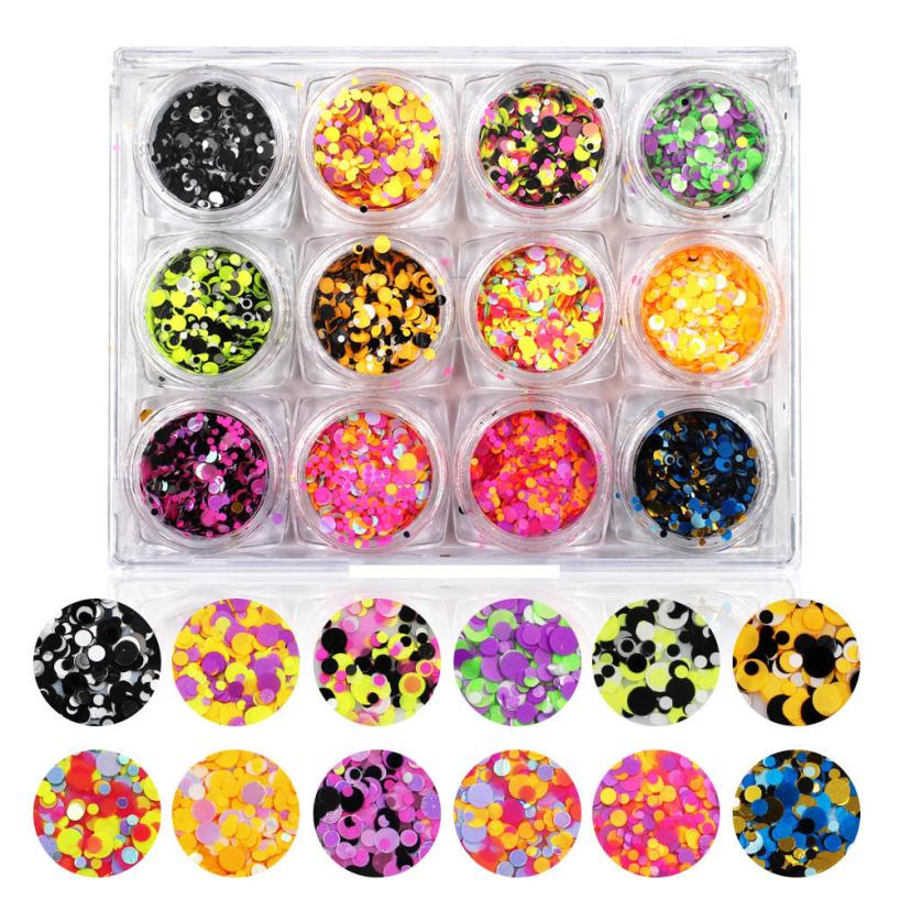 12pc/Set 3D Nail Art Glitter Sequins Decoration Colorful Shiny Mix Size TipGel Polish UV Gel Tips Manicure Nail Art DIY Accessor golden black nail art crown hollow flakes 3d decoration sticker wheel alloy uv gel polish tips diy charm jewelry accessories