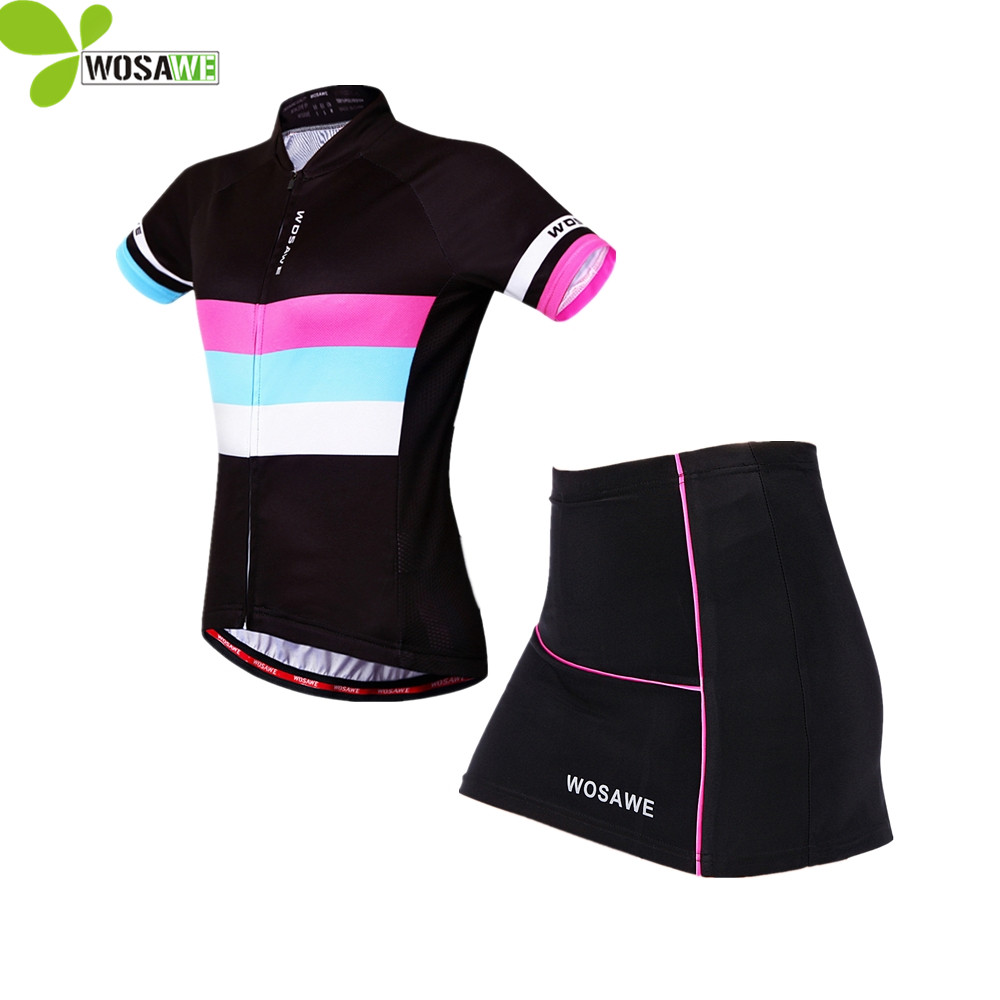 WOSAWE Summer Women Cycling sets Jersey skirt suit Bike Ciclismo clothes cycle wear Mtb ropa ciclismo Gel Pad bicycle clothing wosawe female mini skirt shirt ropa ciclismo cycling jersey sets breathable mtb bike clothing short sleeve clothes