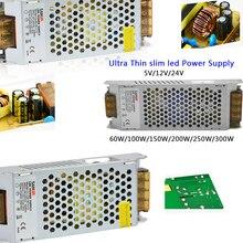 AC110-240V  led strip light Ultra Thin Power Supply 60W/100W/150W/200W/250W/300W Driver DC12V 24V transformer
