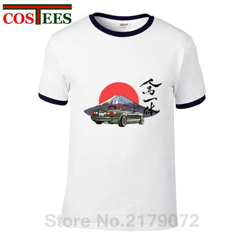 809fc851035 Product name  2018 Japanese style Mazda Miata Mx5 T-shirt hombre Jinba  Ittai Mount Fuji edition T shirt homme graphic printed Tshirt camisetas