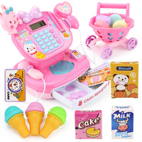 Electronic Supermarket Cash Register Toy Mini Shopping Cart Goods Machine With Sound Pretend Play Cashier Toys For Girls