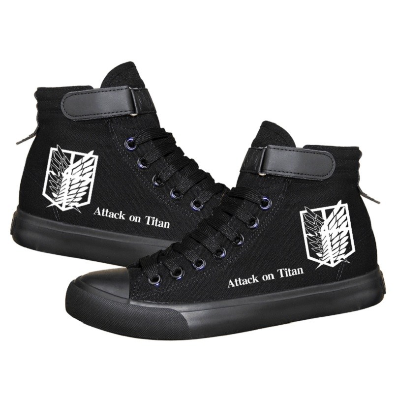 High-Q Unisex Anime Cos Attack on Titan Eren Jaeger Lovers Casual Canvas Shoes plimsolls