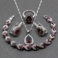 Prata Esterlina 925 Gota de Água Conjuntos de Jóias de Casamento Das Mulheres 4 PCS Red Garnet Tamanho do Anel 6/7/8/9/10 Comprimento Pulseira 18 CM JS33