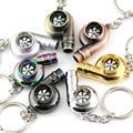 Real Whistle Sound Turbo Keychain Sleeve Bearing Spinning Auto Part Model Turbine Turbocharger Key Chain Ring Keyfob Keyring