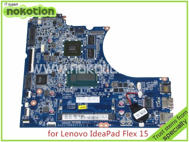 NOKOTION 31ST6MB01H0 DA0ST6MB6E0 REV E Pour lenovo IdeaPad Flex 15 ordinateur portable carte mère SR170 I5-4200U DDR3 Graphique Carte Mère