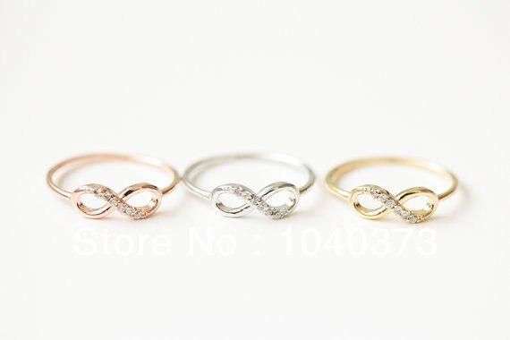 2016 nova rosa de ouro metade de cristal de prata infinito aniversário 8  anel, Anéis para as mulheres, Namorada, Venda quente a8b41cd2d2