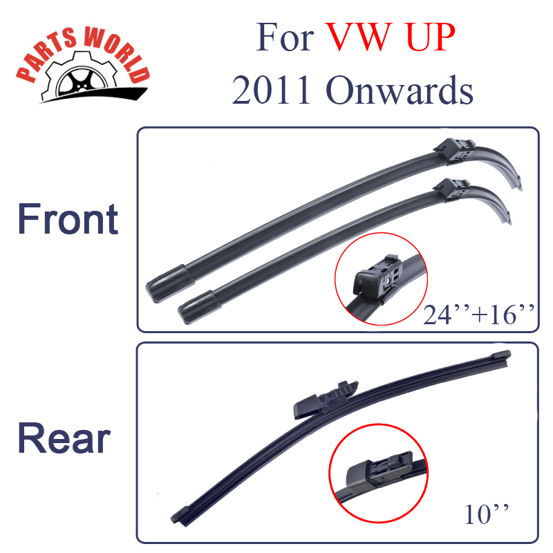 Group Silicone Rubber Front And Rear Wiper Blades For VW UP 2011 Onwards.Windscreen Wiper  Accessories