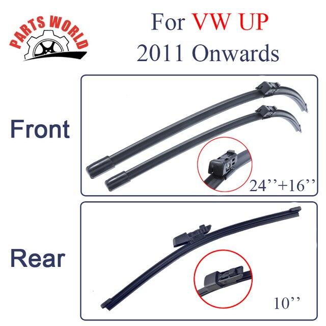 Grupo Dianteiro E Traseiro de Borracha de Silicone Wiper Blades Para VW UP a Partir de 2011. Windscreen Limpador Acessórios