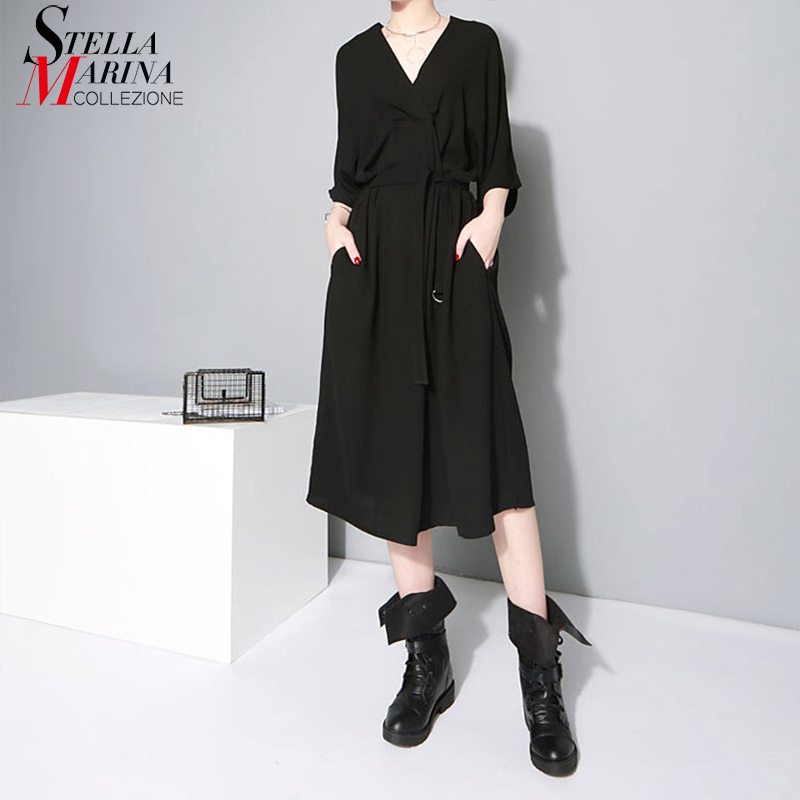 New 2019 Korean Style Women Black Office Lady Stylish Dress V Neck Half Sleeve Elegant Work Wear Midi Chiffon Dress Vestido 1347