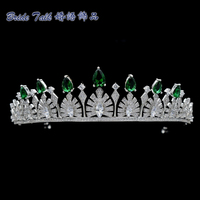 Luxury Wedding Vintage Royal Crown Green AAA CZ Tiara Bridesmaid Bridal Wedding Hair Jewelry Women Crowns TR15038